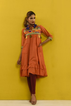 Orange Cotton Female Kurti For Women