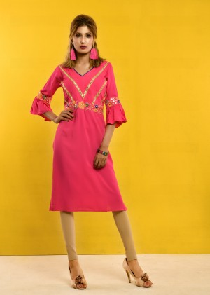 Pink Linen Female Kurti For Women