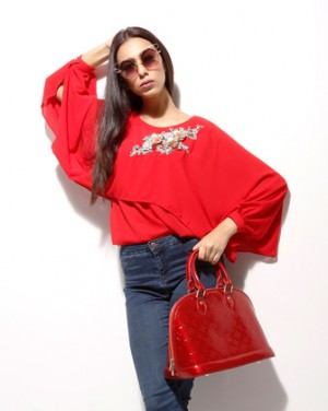 Red long sleeve tops for women