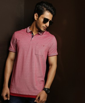 BNB Pink Cotton Polo For Men